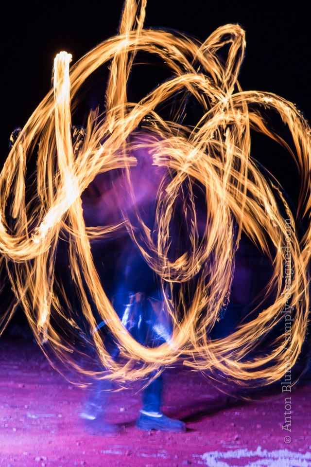 Fire twirling at the Fire Festival. Photo Anton Blume.
